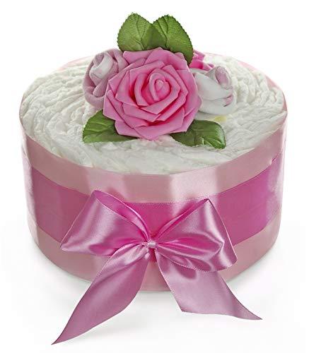 dubistda© Windeltorte Mädchen ROSENBLÜTE - Geschenk zur Geburt | 24-teilig | Geschenk für Mädchen zur Geburt Babyparty Babyshower (rosa)