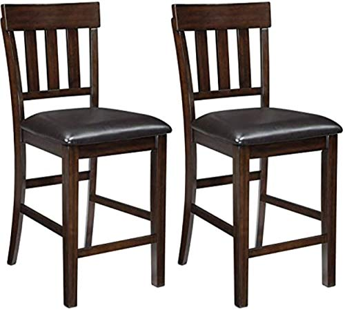 Signature Design by Ashley - Haddigan Counter Barstool - Set of 2 - Counter Height - Upholstered Seat - Dark Brown Finish