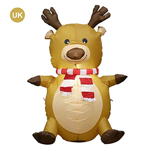 N/P 4-Foot Inflatable Christmas Santa Claus Costume Elk Role-Playing Reindeer Rider Suit, Everyone's Favorite Cartoon Character, Outdoor Or Indoor Christmas Decoration Fun for The Whole Family