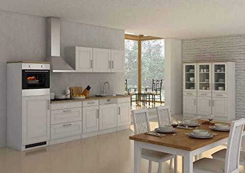 idealShopping GmbH Küchenblock Rom 300 cm im Landhaus Stil weiß matt ohne Elektrogeräte