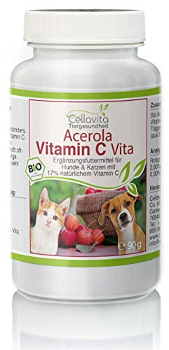 Cellavita Bio Acerola Vitamin C Pulver 100% natürlich | Immunsystem, Vitamine - für Hunde & Katze & Tiere (90g)