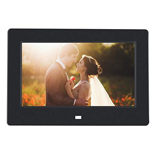 Digitaler Fotorahmen, 7-Zoll-Bilderrahmen, tragbarer Werbespieler, elektronisches Album, USB 16: 9 HD IPS-Anzeige, mit Fernbedienung, unterstützender Videoplayer/Kalender/Uhr(EU-Stecker schwarz)