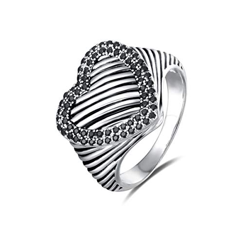 UNY Ring Twisted Cable Wire Designer Inspired Fashion Brand David Vintage Heart Pave CZ Antique Women Jewelry Gift (Black, 7)
