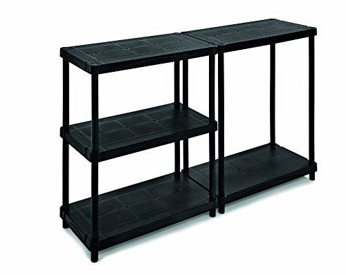 Terry, Scaffale 4080 C , Estantería Modular con 5 Estantes. Color: Negro, Material: Plástico, Dimensiones: 40x80x173,8 cm