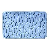 RenHe Alfombra de Baño Antideslizante, Altamente Absorbente, Alfombrilla de Baño de Espuma con Memoria Suave, Tapete de Piso para Ducha Cocina Baño Azul Claro 40 * 60cm