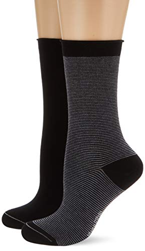 Marc O'Polo Body & Beach Damen W 2-Pack Socken, Schwarz (Schwarz 000), 35/38 (Herstellergröße: 400) (2er Pack)