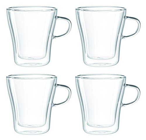 Leonardo Duo Tasse klein, 4-er Set, 250 ml, hitzebeständig, handgefertigtes Glas, 054141