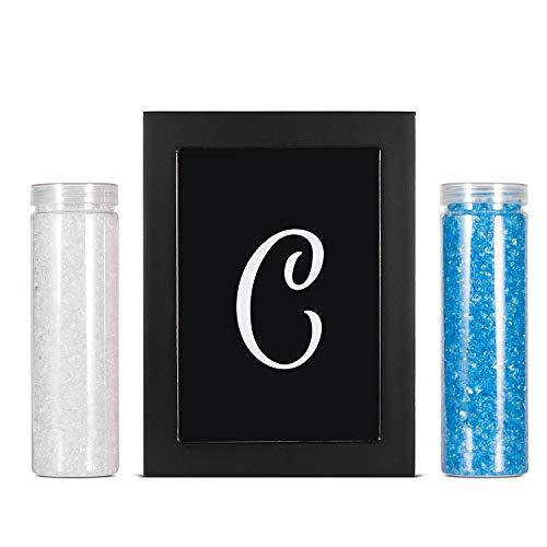 AF ANDREW FAMILY Bilderrahmen, mit Monogrammen, für Hochzeit, Sandzeremonie, Schattenbox-Set, 20,3 cm, Holz-Sandrahmen, Weiß und Blau mit Glassand