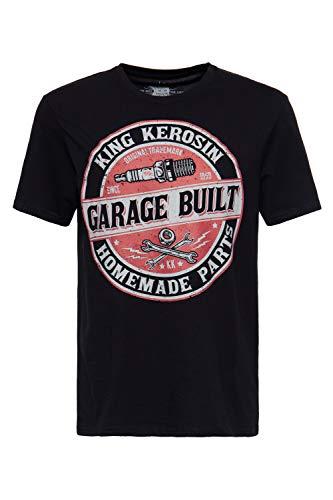 King Kerosin Herren Shirt Mit Frontprint Im Workerstyle Garage Built Rundhals Kurzarm Print-Shirt Regular Fit Bedruckt Abgesteppte Kante Garage Built