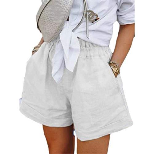 Pantalones Cortos Casuales de Cintura elástica para Mujer, Pantalones Cortos Casuales de Estilo Pastoral de Verano Salvaje de Gran tamaño, Ajuste Holgado de Color sólido Large