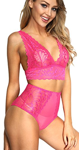 The victory of cupid Women 2 Piece Floral Lingerie Sets Lace Babydoll Bralette Bra and Panty Set (Rose, S)