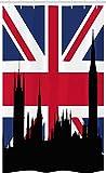 ABAKUHAUS Union Jack Schmaler Duschvorhang, Westminster Parlament, Badezimmer Deko Set aus Stoff mit Haken, 120 x 180 cm, Königsblau Anthrazit grau & Zinnoberrot