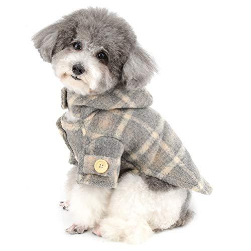 Ranphy Plaid Pet Ropa para Perros Sudaderas Cachorro Chaqueta de Forro Polar Suave a Prueba de Viento cálido Abrigo de Invierno al Aire Libre Gato con Capucha Ropa para Clima