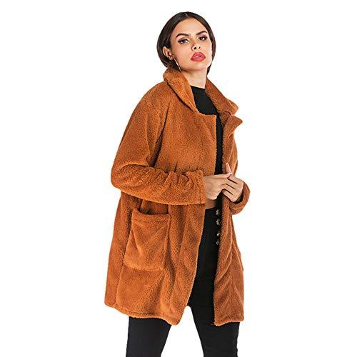 Lvguang Winterfrauen Beiläufige Künstliche Wollene Normallack Große Taschen Revers-im Freienmantel (Kamel, Asia XL)