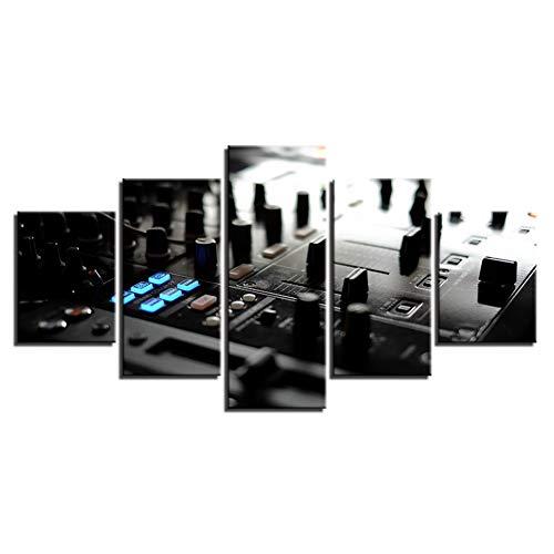 JFASJ 5 Bilder 5 Stück Leinwand Malerei Musik DJ Console Instrument Mixer Malerei Wohnkultur drucken Poster Wandkunst
