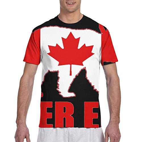 Zhgrong Männer T-Shirts Bier EH Lustige Bärenhirsche Kanadische Flagge Kurzarm T-Shirts Rundhals Athletic Tees Tops