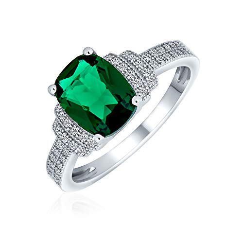 Bling Jewelry 5Ct Zirkonia Cz Pflaster Rechteck Grün Simuliert Smaragd Geschnitten Statement Verlobungsring Für Frauen Sterling Silber