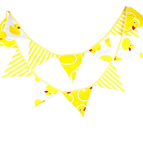 INFEI Yellow Duck Cartoon Fabric Triangle Flags Banner Buntings Garlands for Wedding, Birthday Party, Outdoor & Home Decoration (3.2M/10.5Ft)