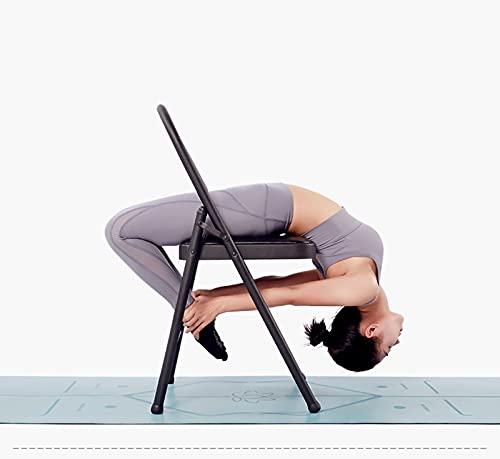 ROMA LT Silla de Yoga con Respaldo, Equipo de Yoga, Silla Plegable de Metal, Herramienta de Entrenamiento de Resistencia de la Parada de Manos, para la flexibilidad y el Entrenamiento de Fuerza,Negro