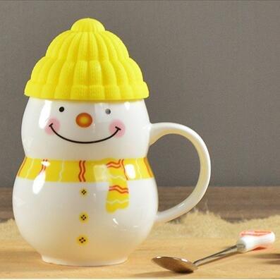 Schneemann Becher Kreative Kaffee Milch Tassen Keramik Teetasse FüR Weihnachten Geburtstagsgeschenk Becher Mit LöFfel,Yellow