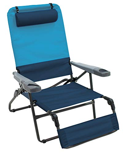 Rio Gear 4-Position Ottoman Lounge Extra Wide Camping Chair - Blue Sky/Navy