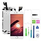 FFtopu Compatible with iPhone 6 Plus Screen Replacement White,LCD Display with 3D Touch Screen Digitizer Full Assembly+Home Botton+Front Camera+Earpiece+Free Screen Protector+Repair Tools Kit (5.5'')