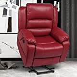 Power Lift Recliner Chair for Elderly, Faux Leather Electric Chairs with Heat and Massage,USB Ports,Remote Control, Home Theater Seat for Living Room, Matte Red