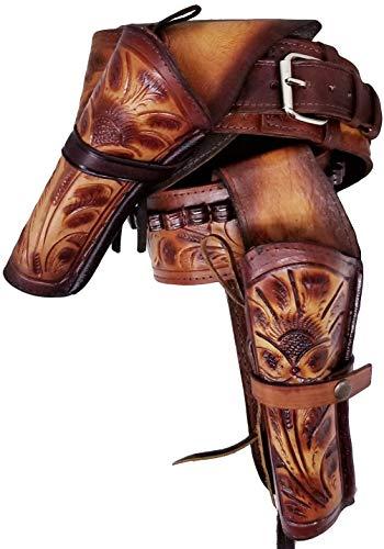 Modestone 357/38 High Ride Left Cross Draw Double Holster Ceinture Pistolet Leather 36