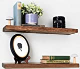 Willow & Grace Rustic Farmhouse Shelves - Natural 24 inch Floating Shelves, Easily Mounted   Perfect Rustic Floating Shelves for Bathroom, Kitchen and Bedroom   Light Walnut (24' Set of 2)