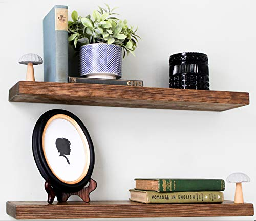 Willow & Grace Rustic Farmhouse Shelves - Natural 24 inch Floating Shelves, Easily Mounted | Perfect Rustic Floating Shelves for Bathroom, Kitchen and Bedroom | Light Walnut (24' Set of 2)
