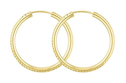 Echt Gold Creolen 30 mm 585 aus Gelbgold, Damen Ohrringe Gold mit Stempel, Breite 2,5 mm, Gewicht ca. 1.7 g, Made in Germany