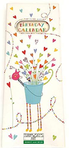 Geburtstagskalender von TURNOWSKY'S ART, jahresunabhängig & immerwährend im Format von 18x38 cm mit fröhlich bunten Motiven