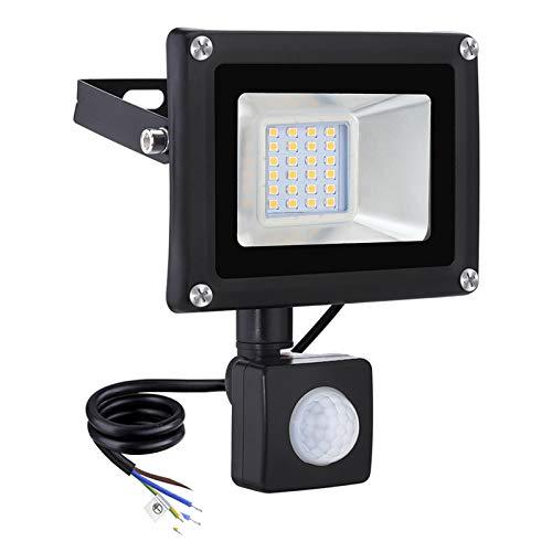 20W Proyector LED con Sensor de Movimiento Floodlight 1600lm Focos LED Exterior para patio Impermeable IP65 3000K Blanco Cálido, Proyector para patio, garaje, taller[clase energética A+]