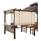 GAXQFEI Exterior Roller Shades, Shade Blind Privacy <span class='highlight'><span class='highlight'>Sn</span></span>, Waterproof Sun Protection Filter Light, with Sticky Hook, for Wall, Garden, Pergola,Beige,75 * 225Cm