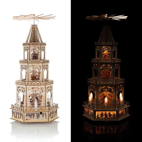 OF Weihnachtspyramide XL aus Holz mit LED Beleuchtung und Timer - Holzpyramide