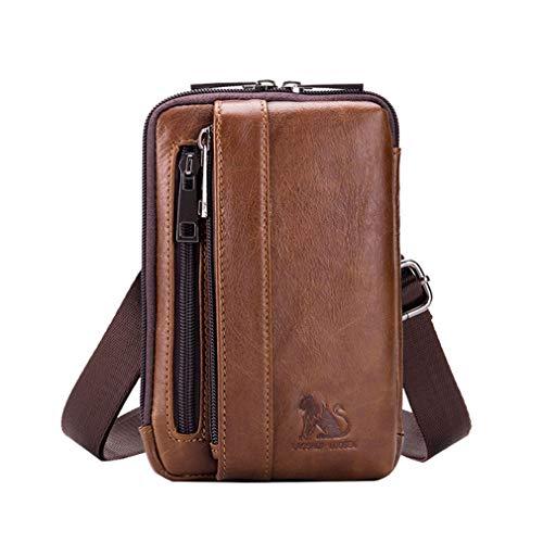 Bolso pequeño de cuero con bandolera, bolso de mano para teléfono, cartera, monedero, gancho, lazo, cintura, riñonera, viaje, acampar al aire libre, senderismo marrón