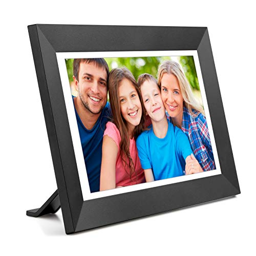 Digital Picture Frame WiFi Digital Photo Frame Kimire Full HD 1366x768 IPS Touch Screen, 16GB Storage, Auto-Rotate, Support Micro Slot, Sleep Mode, Share Photos and Videos via APP(10 inch, Black)