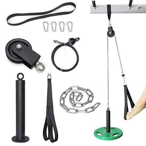 SYL Fitness LAT Pull Down Machine Cable Pulley System with Loading Pin (Pulley System for Olympic Plates)