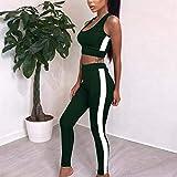 YANGCONG Ropa de Fitness de Yoga Women's Yoga Pants Sportswear Fitness Yoga Clothes Sportswear Women's Gym Sports Jumpsuit Tops Women's Sportswear Leotards Green S