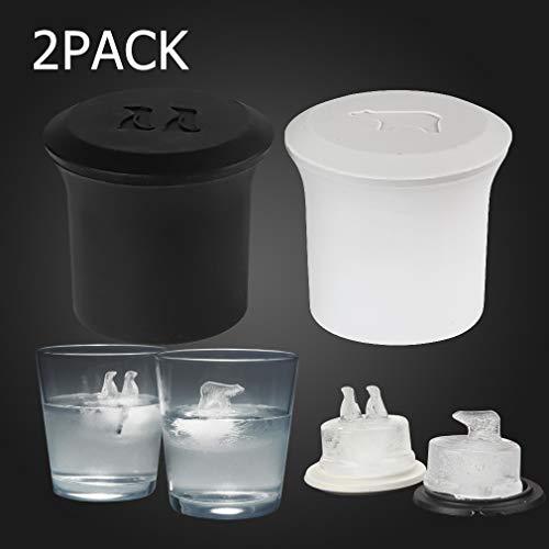 Eiswürfelformen, Silikon Eiswürfelschalen mit niedlichen Pinguin und Eisbär Form, einzigartige Neuheit DIY Eiswürfelschalen Formen für Whiskey Scotch Trinken (2er Pack / Zwei Farben)