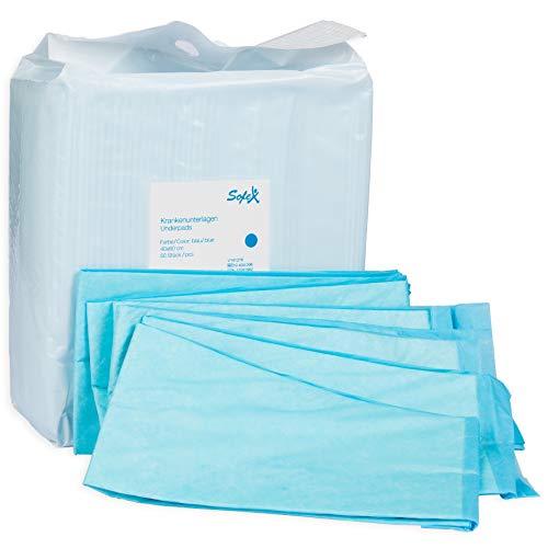 Krankenunterlagen 50 Stück 60x90cm 6-lagig blau, Einwegunterlagen, Einmalunterlagen, Inkontinenzunterlagen, Hygieneunterlagen