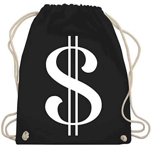 Shirtracer Karneval & Fasching - Dollar Kostüm weiß - Unisize - Schwarz - turnbeutel dollarzeichen - WM110 - Turnbeutel und Stoffbeutel aus Baumwolle