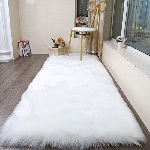 Faux Lammfell Schaffell Teppich 50 * 150cm Lammfellimitat Teppich Longhair Fell Optik Nachahmung Wolle Bettvorleger Sofa Matte (Weiß)