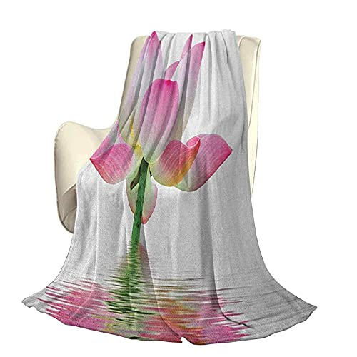 Manta cálida, cómoda y Suave de Felpa mullida Rosada y Blanca Flor de Loto en Agua Dulce Naturaleza acuática Relajación y Tema de SPA Funda nórdica de Lujo con Aire Acondicionado A60 x L50 p