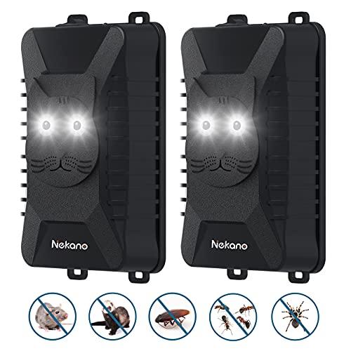 Nekano Repelente ultrasónico de Ratones Coche ahuyentador de Ratas con Luces LED para Anti-cucarachas, Ratones, arañas Apto para automóviles, hogares, garajes, áticos y Jardines(2 Pack)