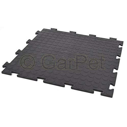 10x Fliesen schwarz PVC Boden Klick Fliesen Platte Klicksystem Garage Werkstatt Camping Kunststoff
