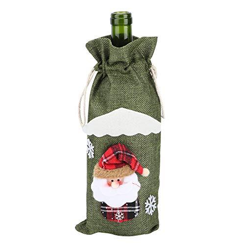 Coperchio per bottiglia, simpatico coperchio per bottiglia di vino rosso Borsa con coulisse Decorazioni per la casa di Natale Forniture Decorazioni per la tavola(Vecchio uomo verde)