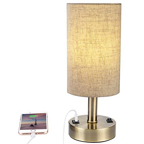 USB Table Lamp DEEPLITE Bedside Lamp with 5V / 2A USB Charging Port, Nightstand Lamp for Bedroom, Living Room, Bronze Metal Base, Cylinder Lampshade