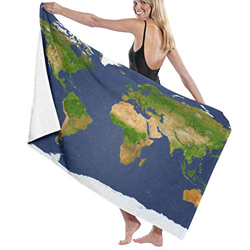 Tsjkwo Extra Large Big Map with Highest Resolution Detail Avalable I Quick-Drying Beach Towel The Best Lightweight Bath Towel for Swimming Beach (32 x 52) inches