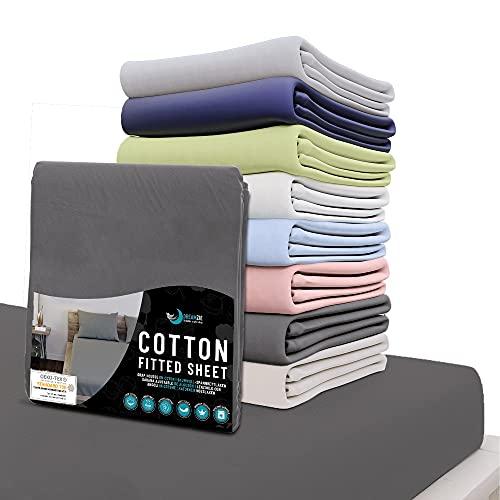 Dreamzie - Spannbettlaken 180x200 cm - 100% Jersey Baumwolle 150gsm Zertifiziert Oeko-TEX® - Anthrazitgrau - Für Matratzen 180 x 200 x 27 cm
